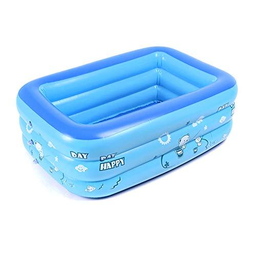 HLSUSAN Baby Pool Sommer Blau Verdicken Planschbecken Rechteckig Family Pool Aufstellpool Pool Tragbar Kinderpool mit Pumpe für Terrasse Balkon Garten,1.3m