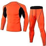 Secado Rápido Conjunto Transpirable Camiseta De Manga Larga Y Pantalones De Compression para Hombre Naranja XL