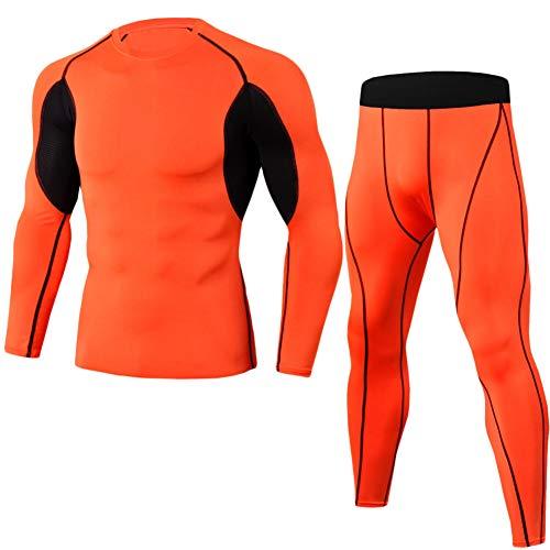 GELing 2Pcs Funktionsshirt Herren, Kompression Set Herren Funktionswäsche, Kompressionsshirt Leggings Sportbekleidung Set Orange 2XL