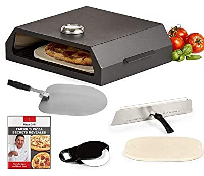 Emeril Lagasse Pizza Grill, Pizza Oven Kit for Outdoor Grill or Indoor Gas Stovetop, Premium Pizza Baking System, Black (Standard)