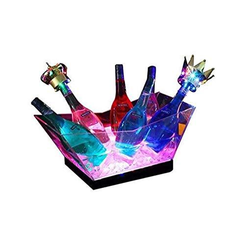 Mr.LQ Secchiello per Il Ghiaccio con Luce a LED, Secchiello per Champagne di Grande capacità Secchiello per Vino con più Colori Che Cambiano per Feste/casa/Bar, Vino Champagne