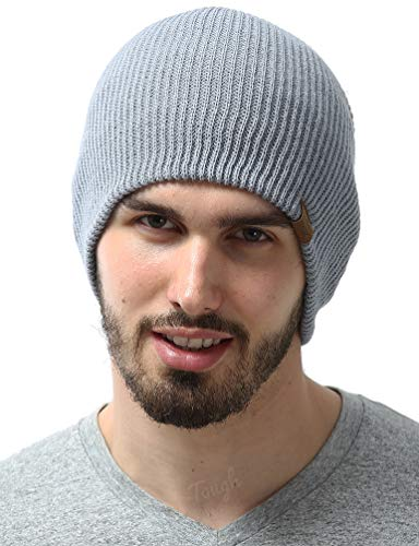 Winter Beanie Knit Hats for Men & Women - Daily Knit Ribbed Cap - Warm, Stretchy & Soft Knitted Hats - Stylish Toboggan Skull Caps for Cold Weather - Serious Beanies for Serious Style Light Gray