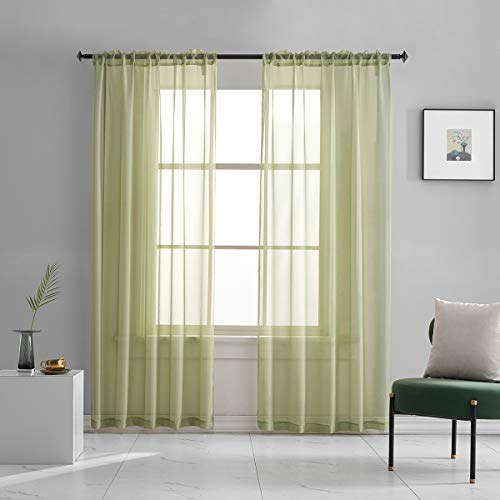 Sage Sheer Voile Curtains Translucent Solid Color Window Treatment 84 Inches Long Panels Rod Pocket Sage Green Sheers for Bedroom Living Room 2 Panels 52x84