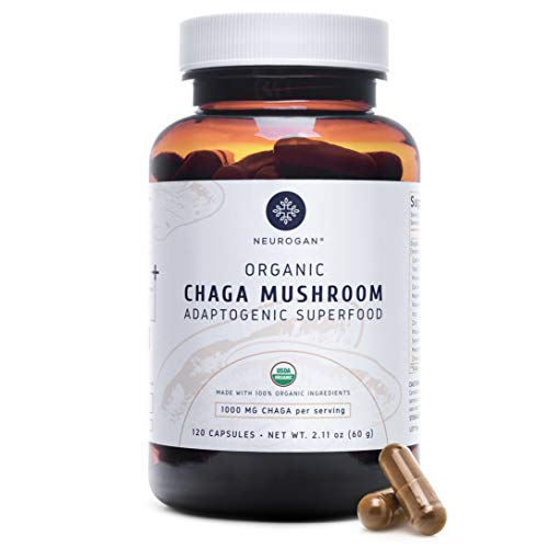 Neurogan Chaga Mushroom Capsules (120 Capsules) - 1000mg Wild Harvested, USDA Organic Chaga Extract – Rich in Antioxidants & Nutrients - Vegan, Non-GMO, Gluten Free