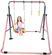 Kids Jungle Gymnastics Expandable Junior Training Monkey Horizontal Bars Climbing Tower Child Play Pink Training Pull Up Gym + Swing Seat + Trapeze Rings.Set