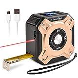 Ellecutteyi Misura di Nastro Laser Digitale 2 in 1USB Ricaricabile Misura di Nastro Laser Metro laser, con Display Digitale LCD, per Area di Misura/Volume/Pitagorico (7.3 * 7.3 * 4.0cm, Oro rosa)