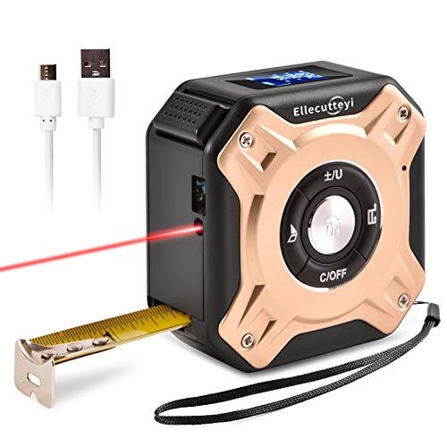 Ellecutteyi Telémetro láser de Cinta Métrica 2 en 1, pantalla HD y LCD, área de Medición de Autobloqueo/Volumen USB Portátil/Regla láser de Cinta de área (7.3 * 7.3 * 4.0cm, Oro rosa)
