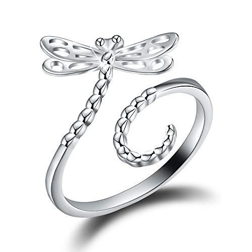 Anillo de plata de ley 925 chapado en oro de 18 quilates con forma de insecto, anillo hueco tallado de libélula y mariposa, ajustable, para niñas y mujeres