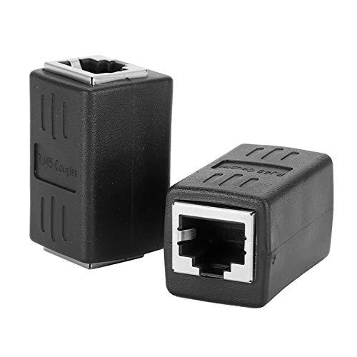 2 PCs Negro RJ45 Conector Acoplador en línea Cat7 Cat6 Cat5E Adaptador Extensor de Cable de Red Ethernet