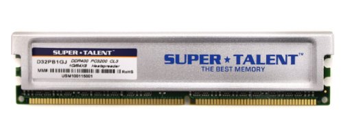 Super Talent Technology 1GB DDR PC400 SC Kit módulo de - Memoria (1 GB, 1 x 1 GB, DDR, 400 MHz, 184-pin DIMM)