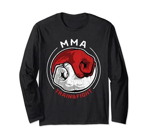 Camiseta de artes marciales mixtas MMA Retro Train Fight Yin Manga Larga