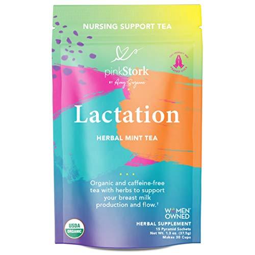 Pink Stork Lactation Tea: Herbal Mint Nursing Tea, USDA Organic, Improve Breast Milk Supply + Fenugreek, Formulated for Breastfeeding Mothers + Baby, Women-Owned, 30 Cups