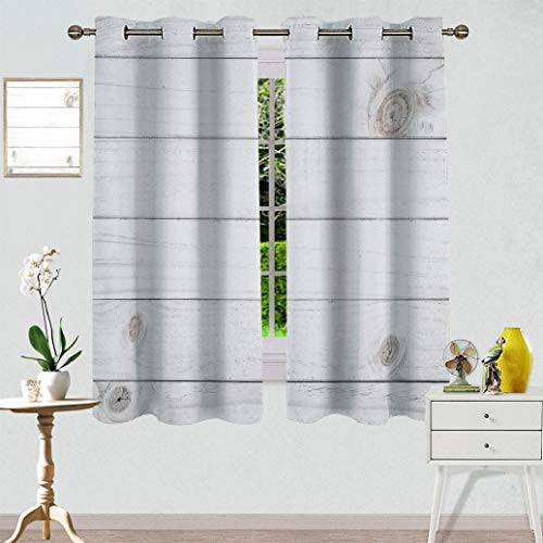 Exotidecor Grey and White Window Curtain Panels, Wooden Planks Horizontal Lined Rustic Timber Soft Tone Oak Background House Image Light Blocking Drapes Drop for Nursery, 1 Panel 27.5