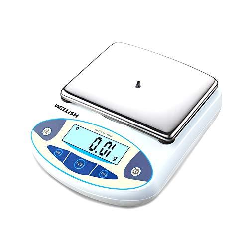 5000g/0.01g Balanza de Laboratorio Báscula de alta precisión Balanza de Joyería, precisión desde 0,01 g, superficie de acero inoxidable