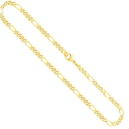 EDELWEISS Goldkette, Figarokette diamantiert Gelbgold 333/8 K, Länge 50 cm, Breite 4.3 mm, Gewicht ca. 18.3 g, NEU