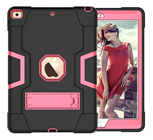 HNKHKJ Schwere Shochproof Silikon Rüstung Abdeckung für iPad 10 2 7. Gen A2198 A2200 A2232 10 2Tablet Funda Capa Fall für Kinder + Film + Pen-Black_Rose