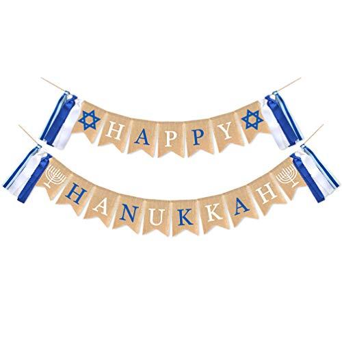 PRETYZOOM Jute Burlap Happy Hanukkah Banner Chanukah Party Banner for Holiday Chanukah Party Supplies Favors