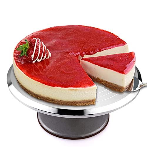 Alzata per torta, Mbuynow 12 pollici antiscivolo giradischi cake topper pasticceria alluminio acciaio inox rotondo supporto piatto torta per matrimonio / torta di compleanno