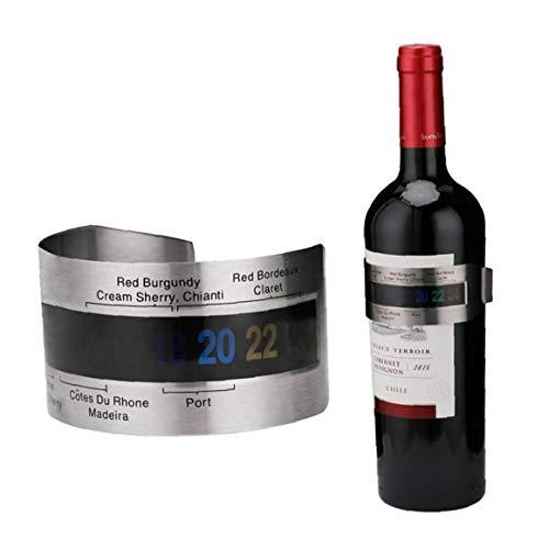 Case&Cover 1pc Pulsera De Acero Inoxidable Vino Termómetro 4-26 Grados Centígrados Sensor Temerature Rojo Vino Herramientas De Medición Elegantes