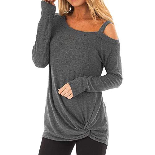 T Shirt Langarmshirt Damen Schulterfrei Oberteil Pullover Langarm Einfarbig Pulli Hemd Bluse Tops Knot Side Twist (M,1- Grau)