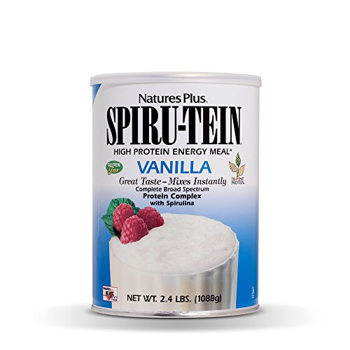 NaturesPlus SPIRU-TEIN Shake - Vanilla - 2.4 lbs, Spirulina Protein Powder - Plant Based Meal Replacement, Vitamins & Minerals For Energy - Vegetarian, Gluten-Free - 32 Servings