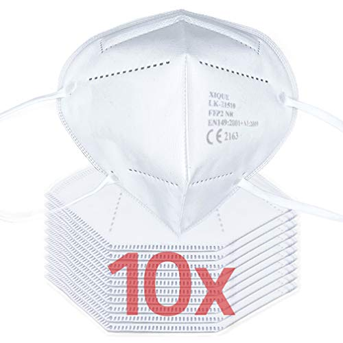 10er Pack FFP2 / KN-95 Maske Mundschutz | CE zertifizierter Mund und Nasenschutz, CE2797, 3-lagig mit Vlies-Filter | Atemschutzmaske Staubmaske Atemmaske Staubschutzmaske, auch für Brillenträger