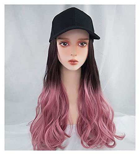 Jsmhh Baseball Cap Wig Hat Fluffy Natural Wave Wig Women's Baseball Cap Men Funny Peaked Cap Wig Decoration Sun Hat Gradient Powder
