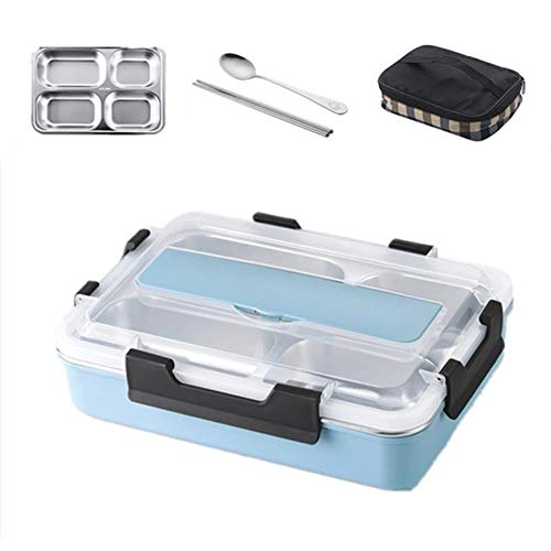SPI Stainless Steel 304 Lunch Box with Spoon Compartment Leak-Proof Lunch Bento Boxes Dinnerware Set Microwave Adult Children Food Container,Big Blue with Bag
