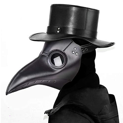 Máscara de médico de la plaga,Comius Sharp Máscaras de Pájaro, accesorio de Halloween, máscara de disfraz Steampunk, para Mardi Gras, fiesta de máscaras, Navidad. (black)