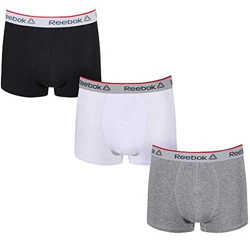 Reebok Herren Ovett Boxershorts, Mehrfarbig (Black/Grey/White 3pkb), (Herstellergröße: Small)
