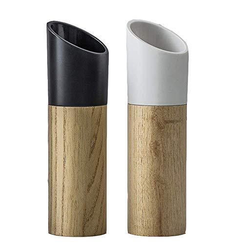 Natürliches Holz Salz und Pfeffermühlen Set, manuelles Mahlen, Keramikrotor, Gewürzmühle, Geeignet für Familien, Camping, Hotels