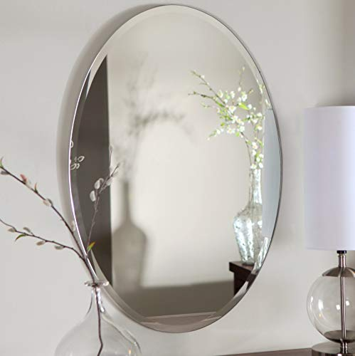 """Mirrors and More Oval Frameless Beveled Polished Wall Mounted Mirror for/Bathroom/Kitchen/Vanity/Make-Up/ (3) D-Ring Hardware on Backer/Vertical or Horizontal 2-Way Hanging System, 21"""" x 31"""" Inch"""