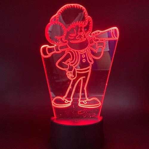 Solo 1 piezas Bald Strong Night Light Led 3D para niños Live Room Nightlights 3D Lámpara visual efecto de luz Cambio de color Night Light Led 3D