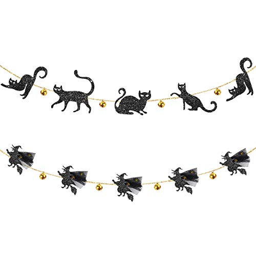 Pink Blume Jingle Bell Black Cat Banner and 3D Flying Witches Garland for Happy Halloween Party Decor Carnival Kids Theme Party Cat Party Decorations All Hallows Eve Party Supplies