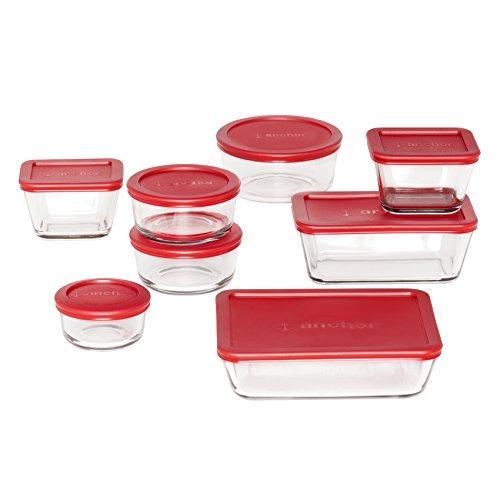 Anchor Hocking Classic Vorratsdosen aus Glas mit Deckel, Rot, 16-teilig