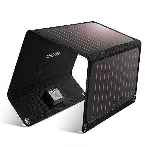 RAVPower ソーラーチャージャー 21W ソーラー充電器 ソーラーパネル 2ポート iPhone XR/XS/XS Max/iPad/Xpe...