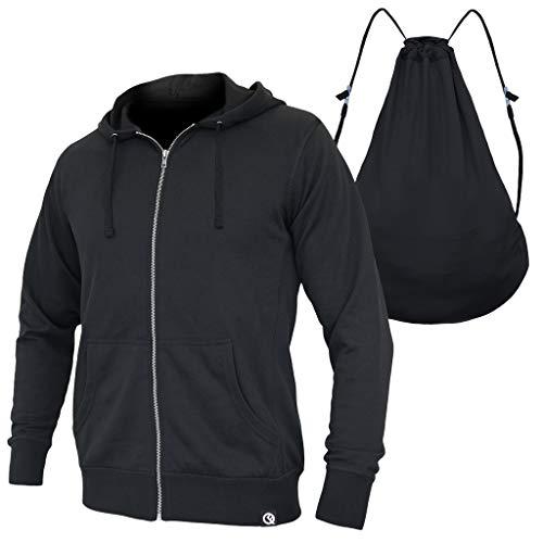 Quikflip 2-in-1 Reversible Backpack Hoodie (As Seen on SHARK TANK) Unisex Full-Zip Hero Hoodie Classic - Black