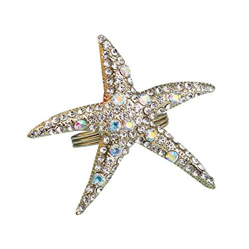 Baalaa Paquete de 8 anillos de servilleta de estrella de mar de cristal, servilleta de diamantes de imitación para bodas, fiestas de playa, decoración de mesa