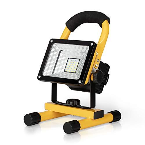 30W LED Baustrahler Akku, IP65 Wasserdicht Arbeitsleuchte Tragbares Flutlicht 6000K Scheinwerfer tageslichtweiß Strahler für Camping, Fischen, Forschungsreise, Autoreparatur