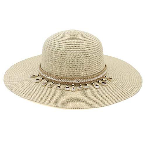 Charmylo Sombreros de Paja para Mujer Sombrero de Sol Gorra de Playa con Cinta de Concha y Correa...