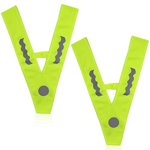 Warnweste Kinderwarnweste Pannenweste Reflektoren Westen, 2Pcs V-Form Signalkragen Sicherheitskragen Reflektorkragen Unfallweste Waschbar für Kinder Auto Verkehrsunfall, Neon Gelb