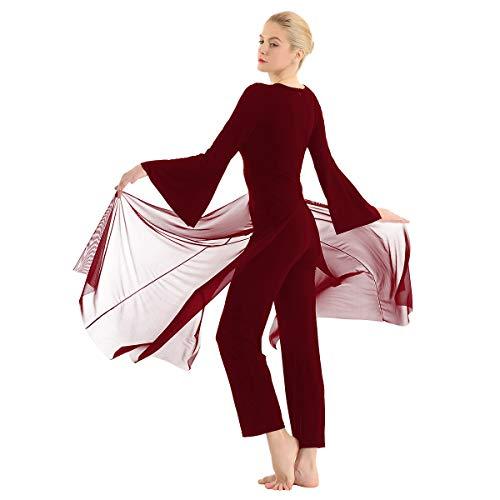 ranrann Mono de Danza Lírica para Mujer Manga Acampanada Vestido de Danza Contemporánea Moderna Jumpsuit Traje Baile de Salón Actuación Fiesta Vino Rojo Large