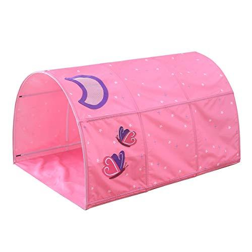 Giow Kinderbett Tunnelzelt für Hochbett, fit für 90-100cm Bett in der Breite, Pink Moon