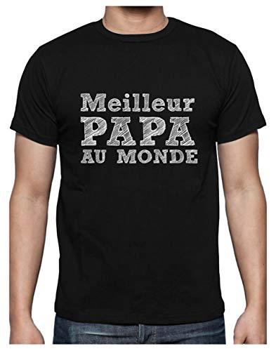 Cadeau Fête des Pères - Meilleur Papa Au Monde T-Shirt Homme X-Large Noir