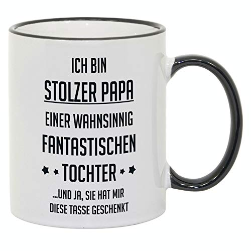 """Tasse mit Spruch / Schriftzug \""""Ich bin stolzer Papa...\"""" als Geschenk zum Geburtstag, Vatertag oder zu Weihnachten"""