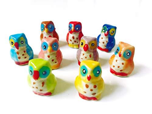 Tyga_Thai Brand Set 4 pcs. Miniature Ceramic Owl Animal Painted Figurine Statue Decorative Collectibles Multi Color