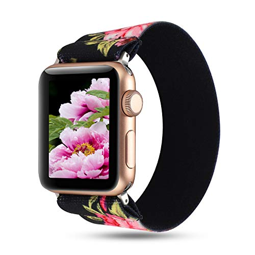 WONMILLE Compatible with Apple Watch Scrunchie Band 38mm/40mm Series 5/4, Stretchy Loop Nylon Elastic Bracelet Wristbands for iWatch 42mm/44mm Strap Accessories (Black Pink Floral, 38mm/40mm)