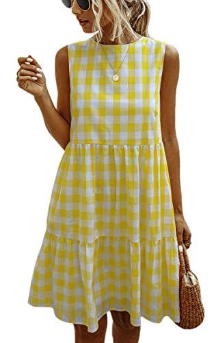 Spec4Y Vestidos de mujer de verano a cuadros sin mangas casual una línea suelta camiseta mini vestido con bolsillos, amarillo, XXL