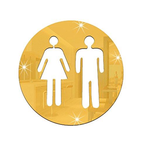 Tutoy Salle De Bain Amovible Autocollant Miroir Stickers Muraux Décoration D'Intérieur Miroir Stickers Miroirs -Glod & Pattern A