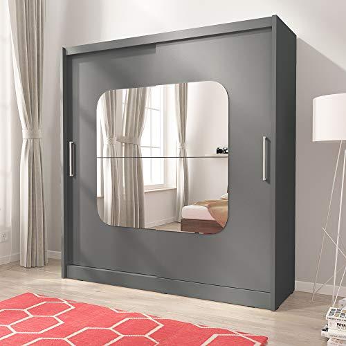Maya 8 - Armario de dormitorio con espejo centrado con 2 puertas y barra para colgar, 180 cm de ancho, color gris